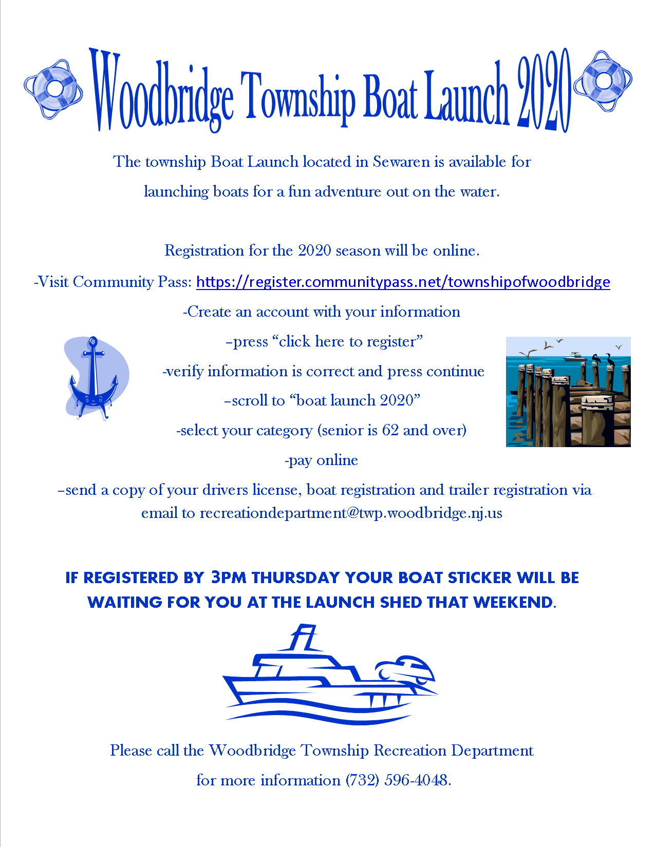 boat launch online reg instructions, click for direct link to Community Pass